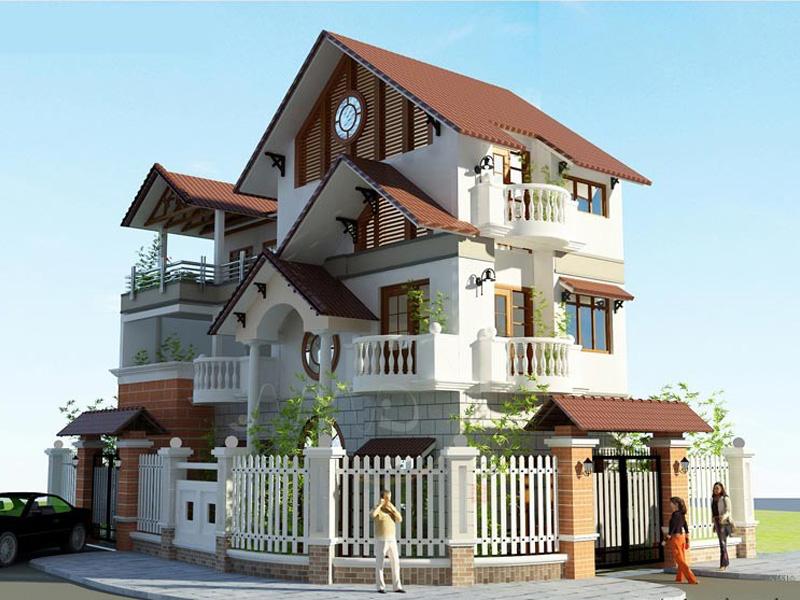 Xây dựng Biệt thự 3 tầng mái thái